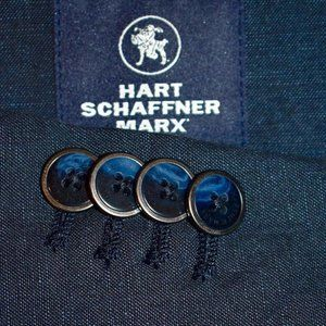 NEW! 44L Hart Schaffner Marx Navy Blue LINEN COAT